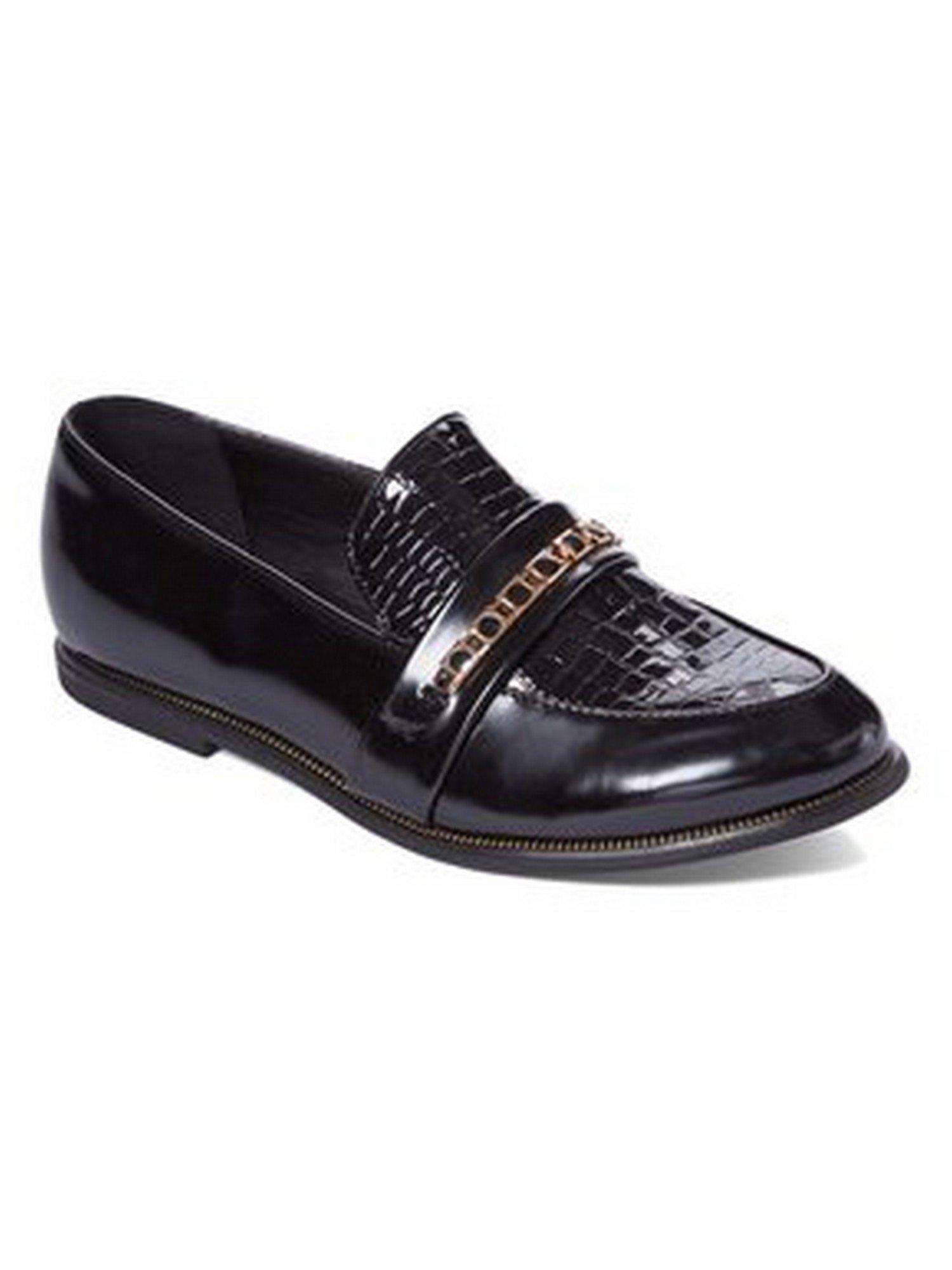 Liyu Adult Black Snake Skin Top Panel Stone Accented Slip-On Shoes 6 Women