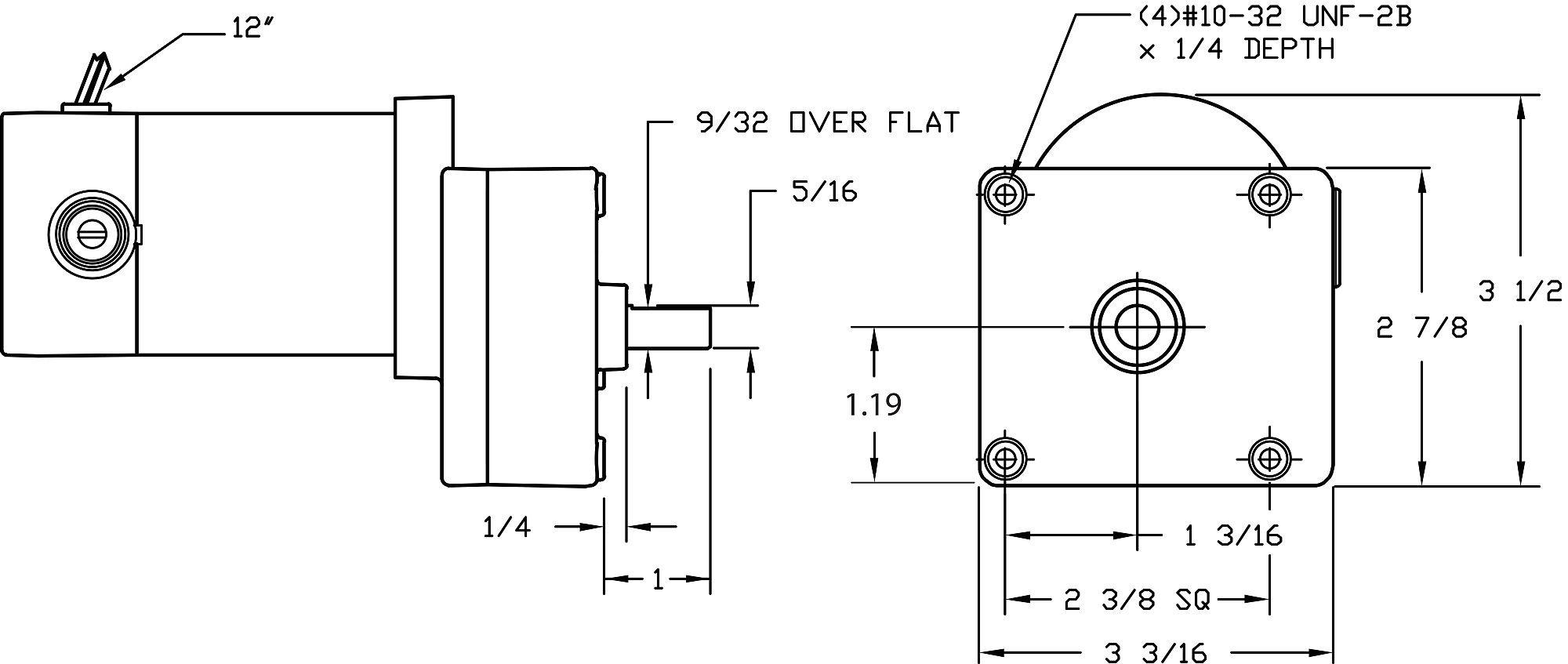 DC Gearmotor, 17 rpm, 12V, TENV