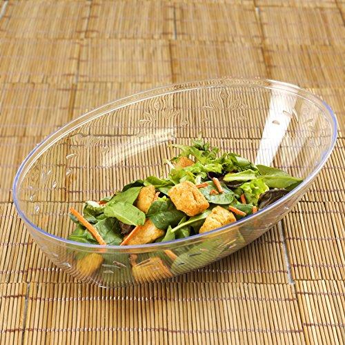 Tableclothsfactory 20 Pcs - Clear Oval 2qt Disposable Plastic Salad Bowl