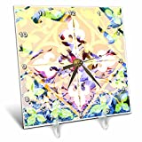 3dRose Sarah Ashmun Design - Tile - Birds flying through a tiled window - 6x6 Desk Clock (dc_280138_1)
