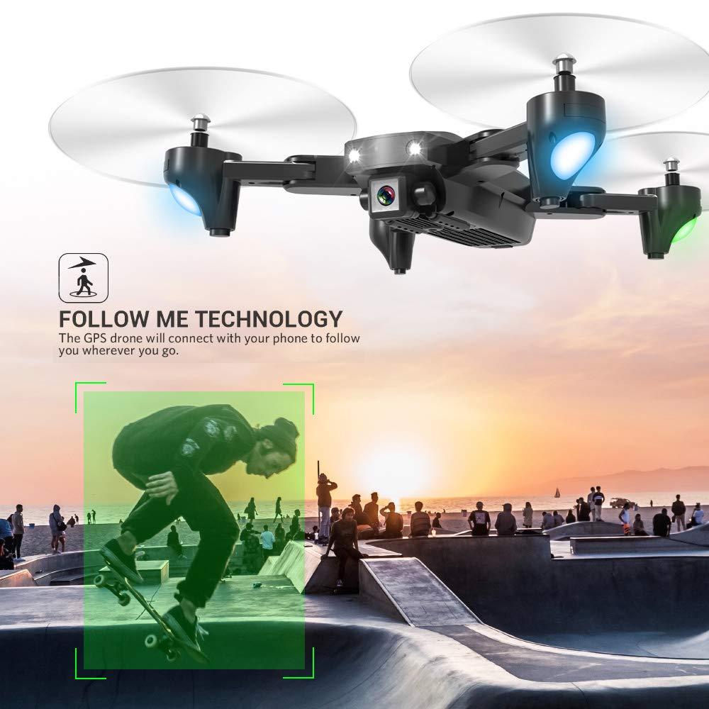 Mobiliarbus RC Quadrocopter CSJ S166GPS Drohne mit Kamera 1080P Follow me Auto Zurück nach Hause WiFi FPV Live Video Geste Fotos RC Quadrocopter für Erwachsene  720P with 2 Batteries