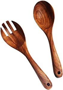 Kalinco Wooden Acacia Salad Servers with Salad Spoon and Fork Set Cooking Utensils for Kitchen (Natural Handmade Cookware) (salad servers)