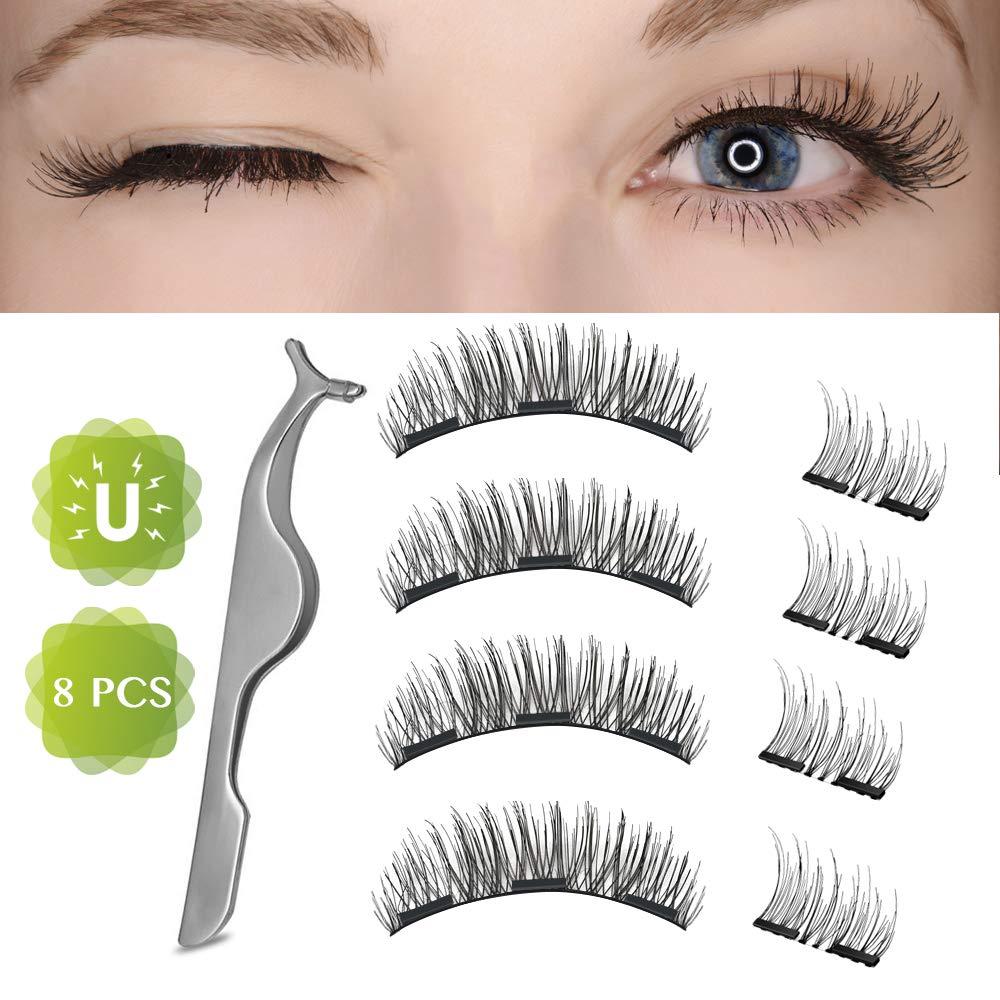 Magnetic False Eyelashes, Basa Dual False Eyelashes Magnetic Plus Eyelash Tweezers, Upgrade 3D Reusable and Fiber Magnetic Fake Eyelashes, 0.2mm Ultra Thin Style and Natural(8 pcs)