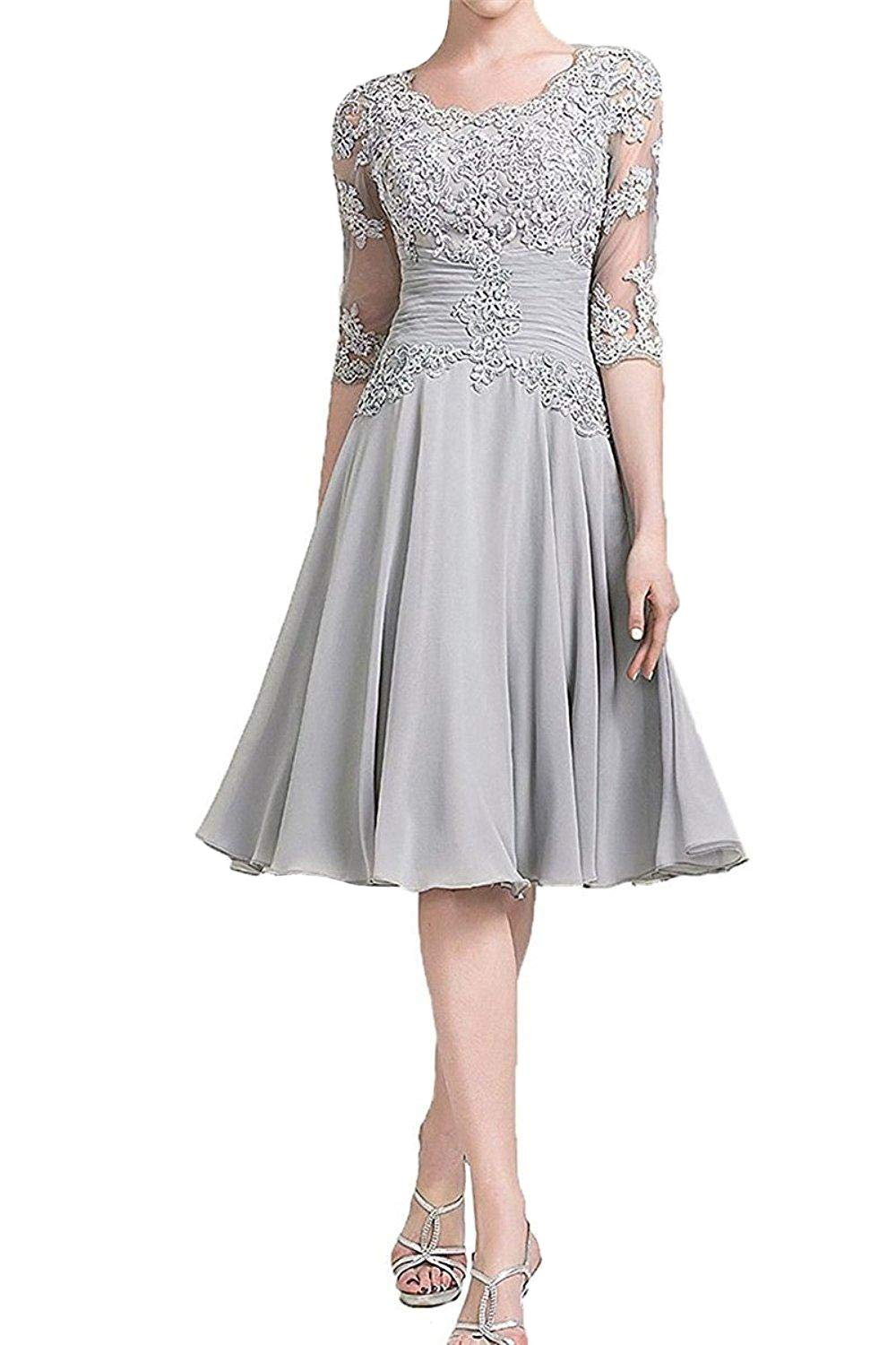 Formal Wedding Dresses.Jingdress Women Appliques Mother Of The Bride Dresses Knee Length 1 2 Sleeve Wedding Evening Gowns With Pleats Grey