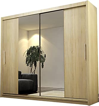 Ye Perfect Choice Armario Alayna 4 Puertas correderas con Espejo, Moderno Armario de Dormitorio 180 cm, Sonoma Oak Without Led, Without Carrying Service: Amazon.es: Hogar