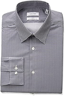 Calvin Klein Men's Non Iron Slim Fit Stretch Print Point Collar Dress Shirt
