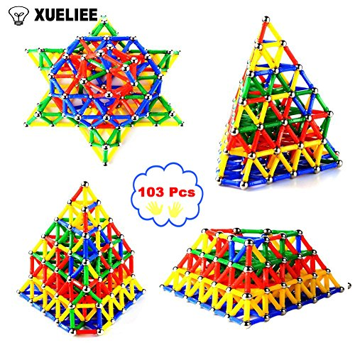 XUELIEE 103 pcs Educational Magnetic Sticks Building Blocks
