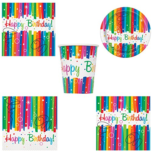 Unique Rainbow Ribbons Birthday Party Bundle | Luncheon & Beverage Napkins, Dinner & Dessert Plates, Table Cover, Cups | Great for Colorful Themed -