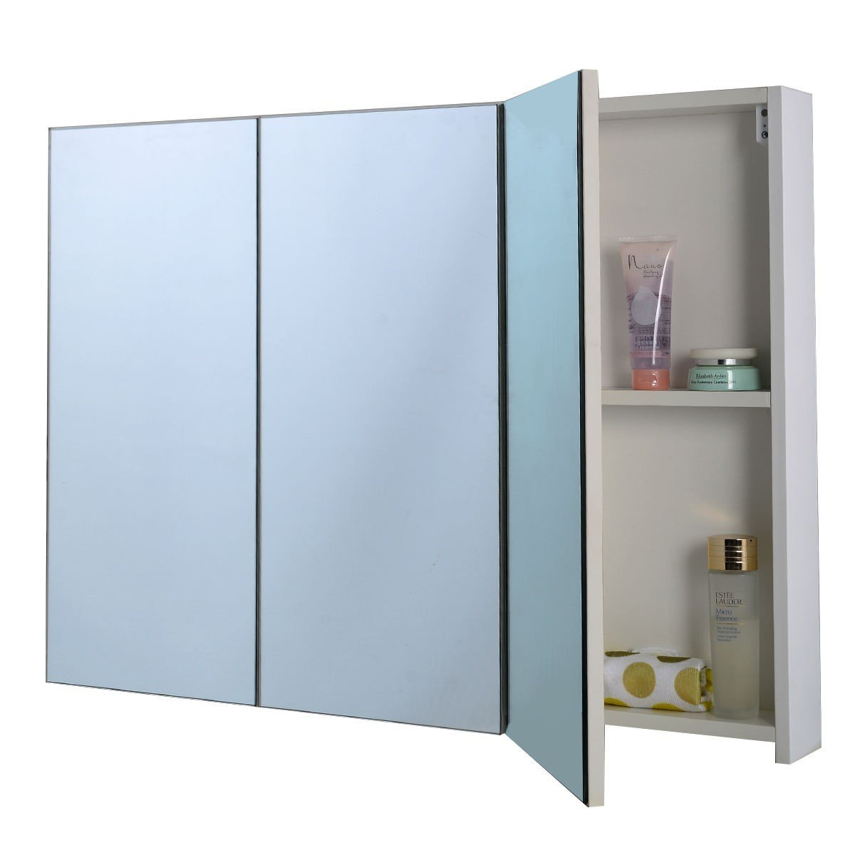 "36"" Bathroom Medicine Cabinet with 3 Mirrors White"
