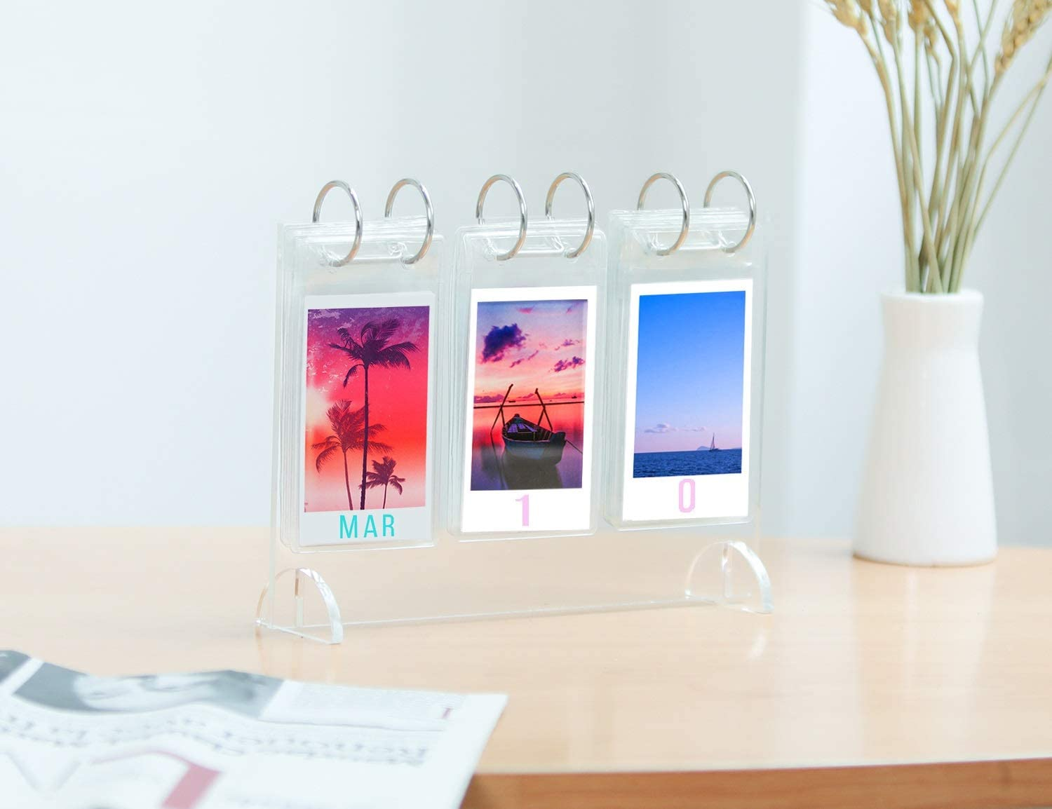 for Instax Mini 7s 8 8 9 25 26 50s 70 90 Film Acrylic Tabletop Flip-Style Calendar-Style Photo Album Polaroid Instant Z2300 /& Gift 52 Photos Display WINKINE Desktop Mini Photo Album Collection