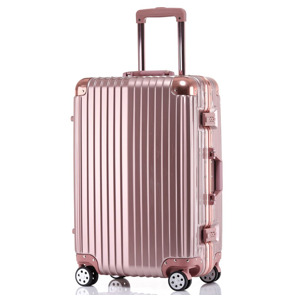 Multifunctional Aluminum Frame Traveling Storage Suitcase Trolley Case (28, Rose Golden)
