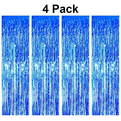 pozzolanas 4 Pack Foil Fringe Curtain Metallic Tinsel Shimmer Party Photo Backdrop Curtains for Birthday, Engagement, Baby Shower, Weddings Party and Celebrations Backdrop Decorations(Blue)