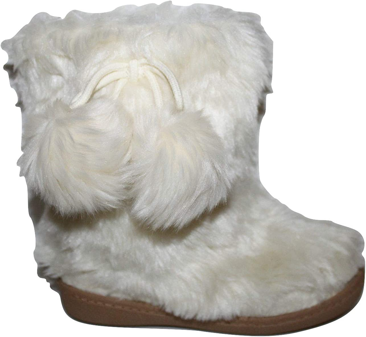 Ivory Faux Fur Boots with Pom Poms
