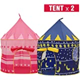 Moombike Prince and Princess Castle Play House Pop Up Play Tent with a Carrying Case, Foldable Pink and Blue Tent Toy for Boys and Girls Kids Indoor Outdoor