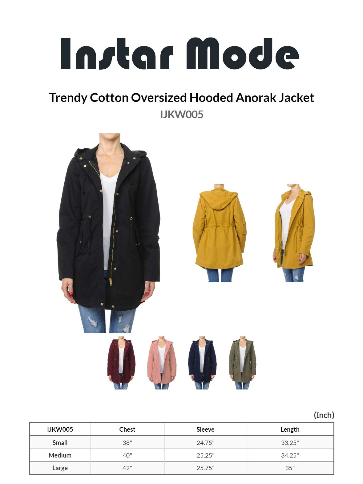 Instar Mode Women's Trendy Cotton Oversized Hooded Anorak Jacket Olive L by Instar Mode (Image #5)