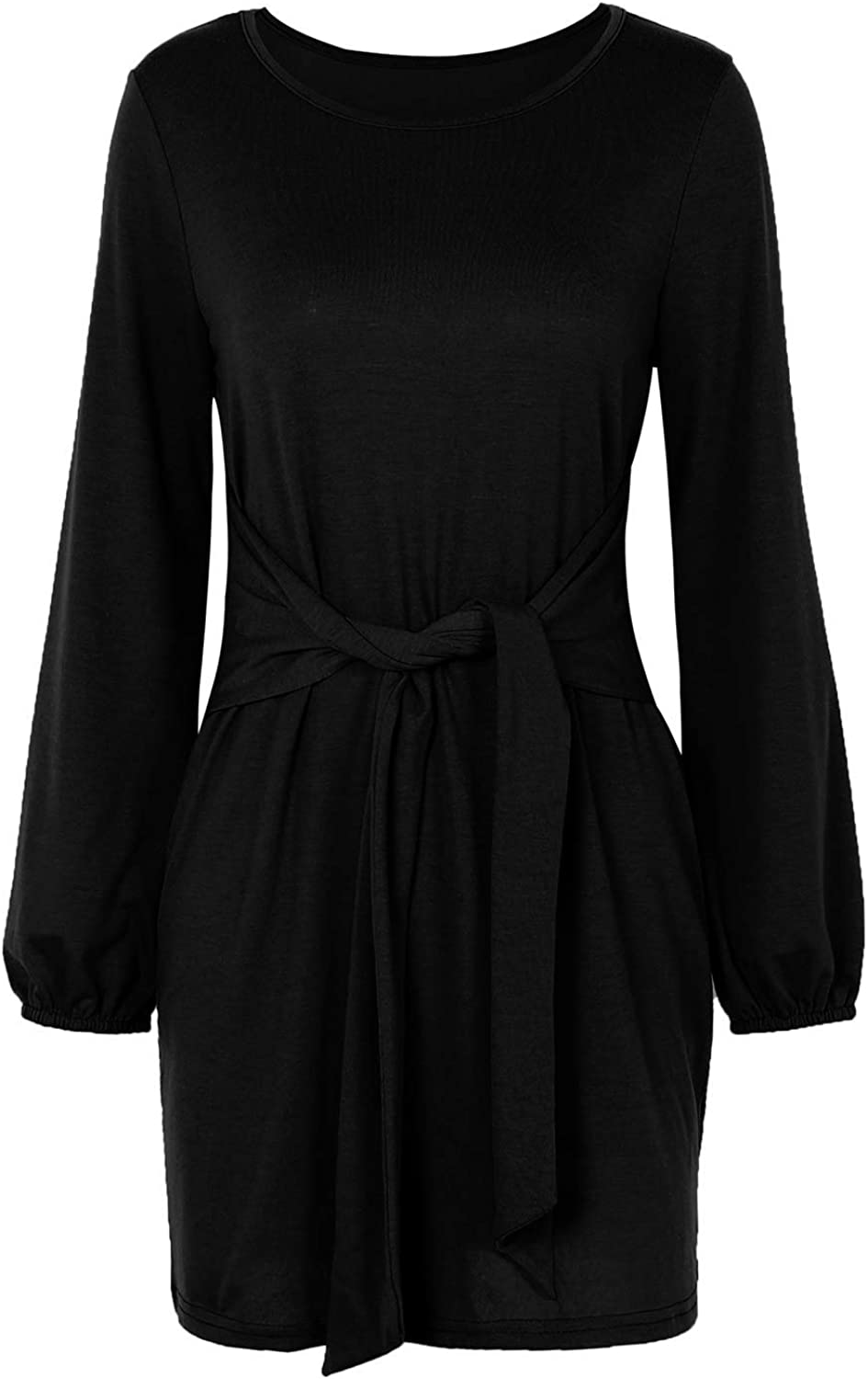 INIBUD Front Tie Long Sleeve Dresses for Women Loose Casual T Shirt Party Dress Rond Neck