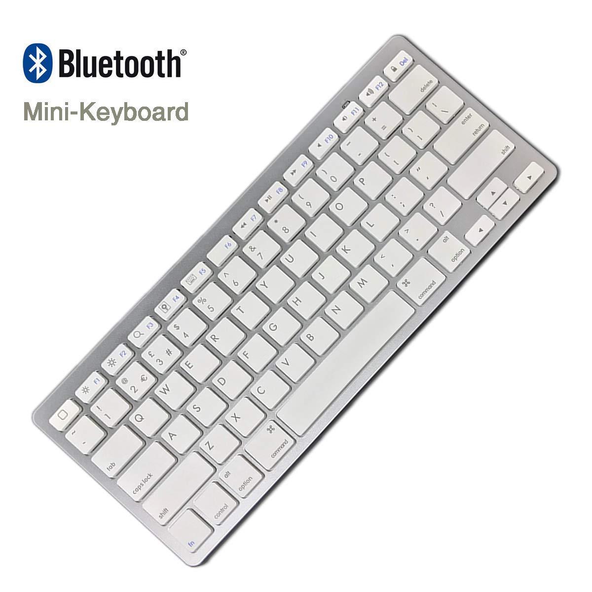 Windows iPad Air iPad 2//3//4 Mac Bluetooth Wireless Keyboard for iPhone iPad Mini and any bluetooth enabled device - White British Layout Galaxy Tab iPad Pro