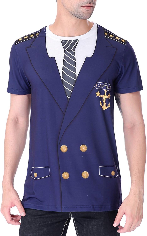 COSAVOROCK T-Shirt Costume da Capitano Uomo