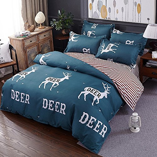 KFZ Bed SET Beddingset Duvet Cover Set No Comforter Flat Sheet Pillow Case ALM Twin Full Queen King Animal Cartoon Deer Bear Snails Nature Plaid Design for Kids (Best Deer, Grey, Twin, 58