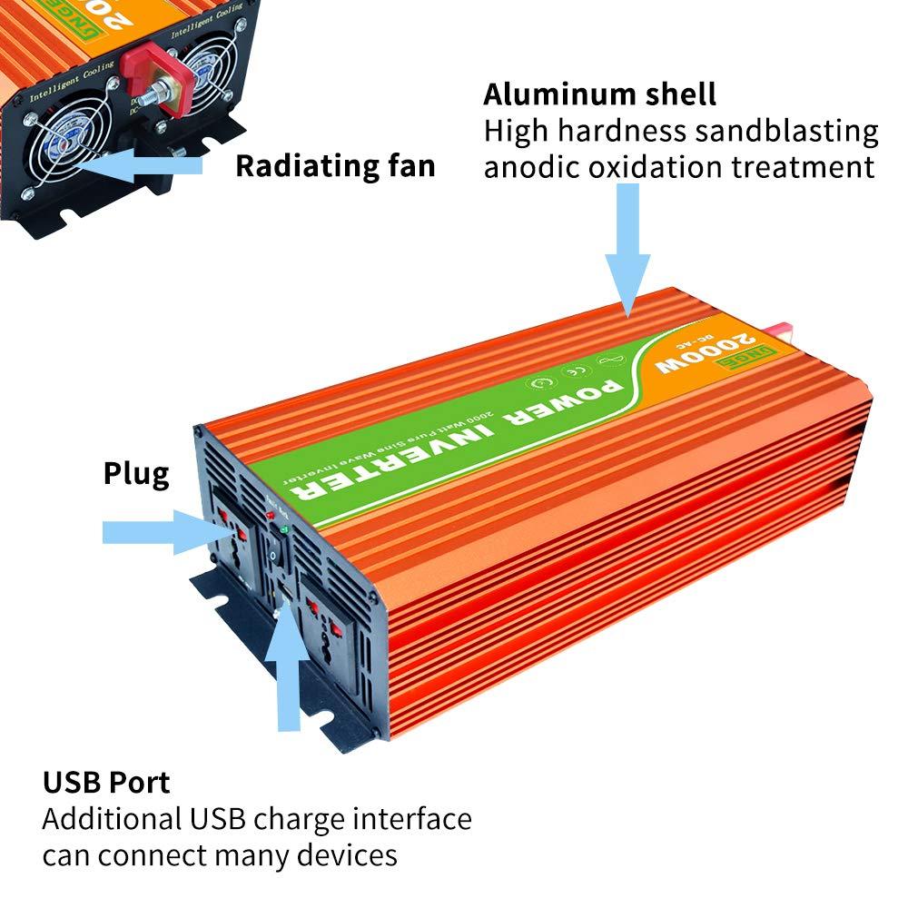 Blusea Kontinuierlicher Reiner Sinus-Wechselrichter Hochfrequenz-Sto/ßspitzenleistung Watt Wechselrichter USB-Anschluss