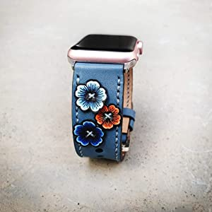 Applique Fashion Style Apple Watch Band 38mm 40mm 42mm 44mm,Series 5 Series 4 Series 3 Series 2 Series 1,Hand-Stitched Handmade Apple Watch Leather