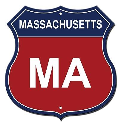 Massachusetts Abbreviation Flag Novelty Highway Shield Metal Sign