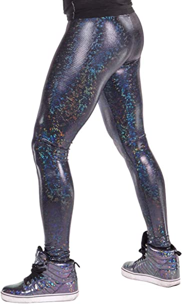 Revolver Fashion Holographic Meggings: USA Made Mens Disco Leggings. Fun Music Festival Clothing