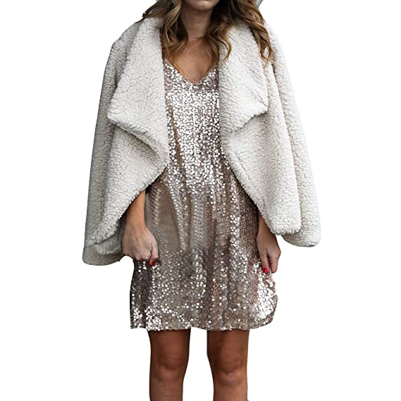 Yvelands Invierno para Mujer Abrigo de Felpa Chaqueta de Punto de Las señoras Chaqueta Informal Outwear