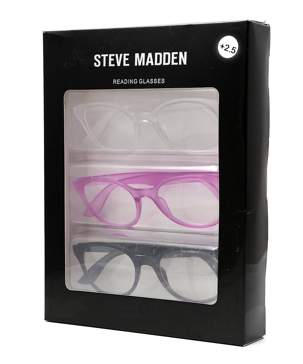 9c7f59f59d64 Amazon.com: Steve Madden Black & Purple Rounded Reading Glasses 3 Pack  +2.50 Readers: Health & Personal Care
