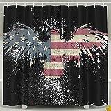 BINGO FLAG Funny Fabric Shower Curtain USA Eagle Flag Waterproof Bathroom Decor With Hooks 60 X 72 Inch