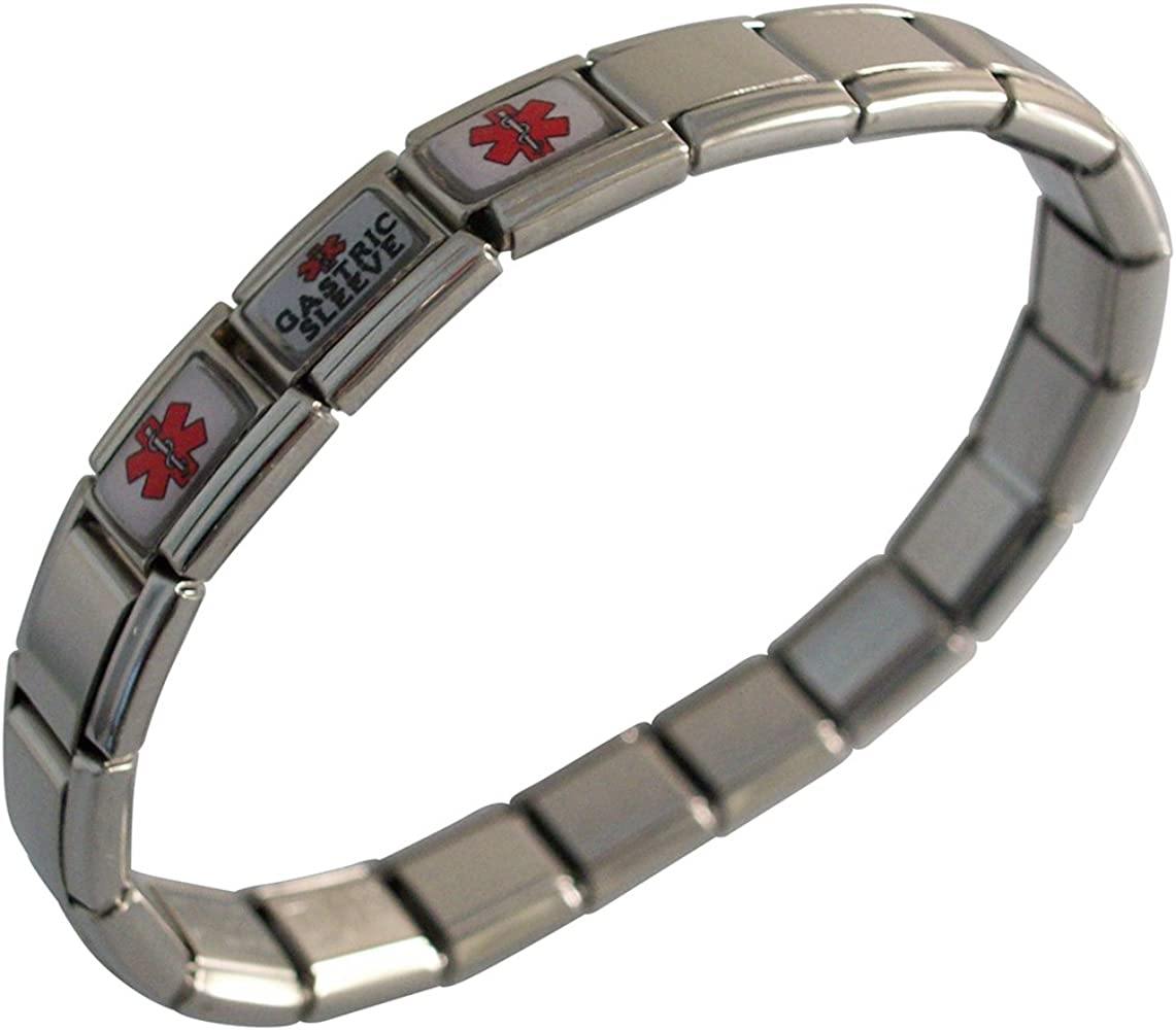 Gastric Sleeve Medical Alert Bracelet for Men or Women Stainless Steel Adjustable Stretchable