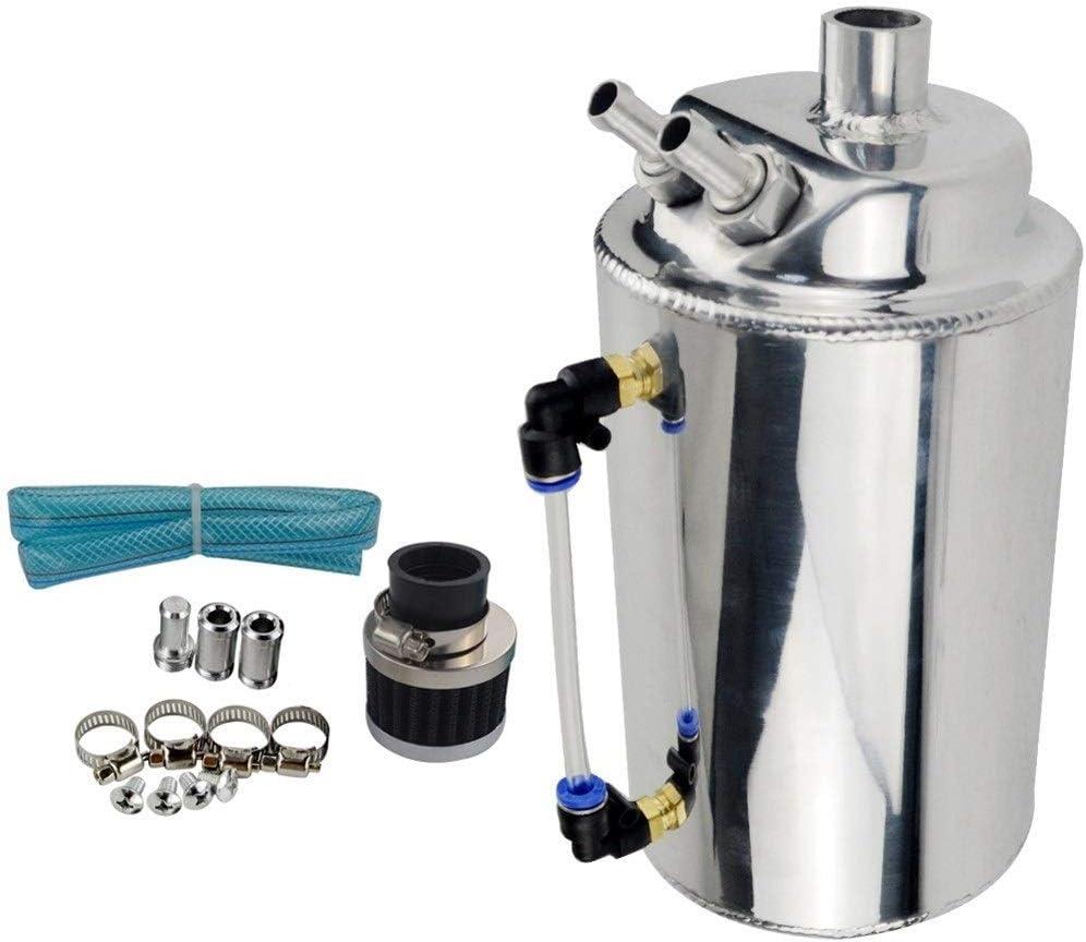 Separador de aceite Racing 2L 2 litros de aluminio pulido REDONDO colector de aceite tanque con RESPIRO FILTRO WLR-TK01 Colector de aceite del