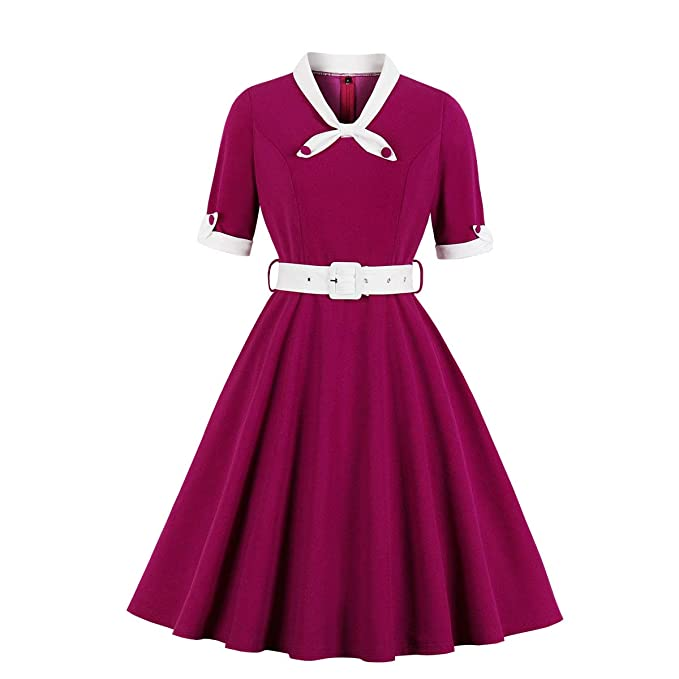 1940s Dresses | 40s Dress, Swing Dress Wellwits Womens 1/2 Half Sleeves Sailor Tie Neck 1940s Retro Vintage Dress $25.98 AT vintagedancer.com