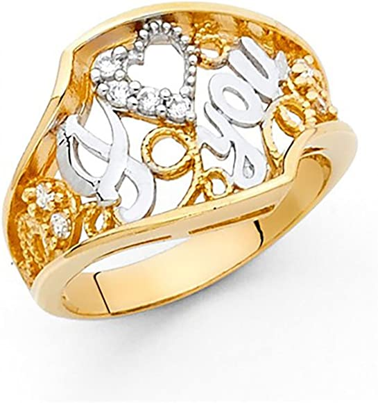 10k or 14k Two Tone Real Solid Gold CZ Beautiful Anniversary Band Ring