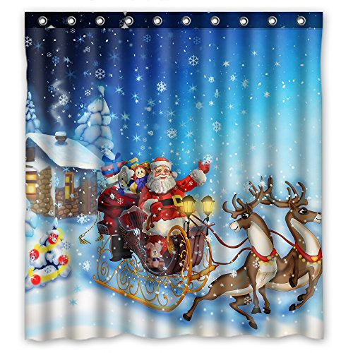 Winter Holiday Merry Christmas Deer pull the Santa Claus Snowflakes Beautiful Christmas Gifts Shower Curtain Size 66X72 inches (Claus Santa Snow)