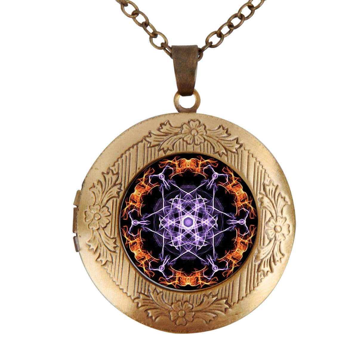 Fangship Black Mandala Locket Pendant Stainless Steel Necklace Round Box Chain Jewelry for Women Girl Boy Men 1.18 Inch Includes Adjustable Length Cable Chain