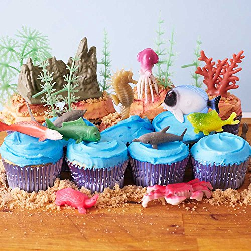 Cakegirls Sea Creature Cupcake Scene KIT- (11) Assorted Seahorse Dolphin Crab Tropical Fish Octopus (9) Coral Reef Sea Creature Toppers (32) Light Blue Foil Cupcake Liners (3/4 oz) Blue Food Color