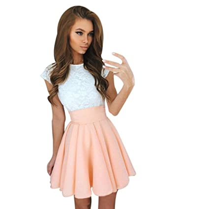FUNIC Women Summer Mini Dress, Short Sleeve Skater Lace Dress Party Cocktail Dresses (Medium