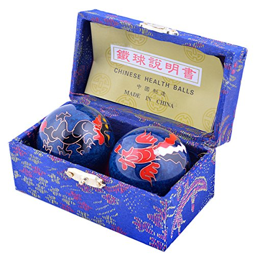 Blue Dragon Dragon Bracelet - Feng Shui Chinese Health Balls (Blue with Phoenix and Dragon) 3.8cm/1.5