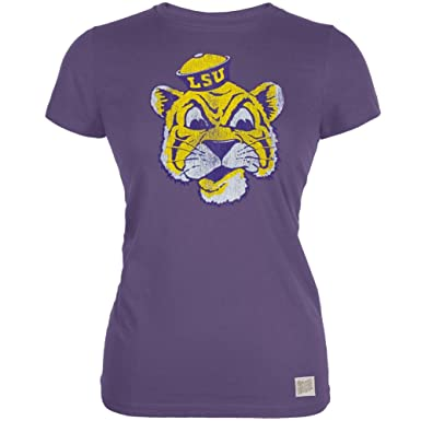 c7e715f6b155ce Amazon.com  LSU Tigers - Grinning Tiger Vintage Juniors T-Shirt ...