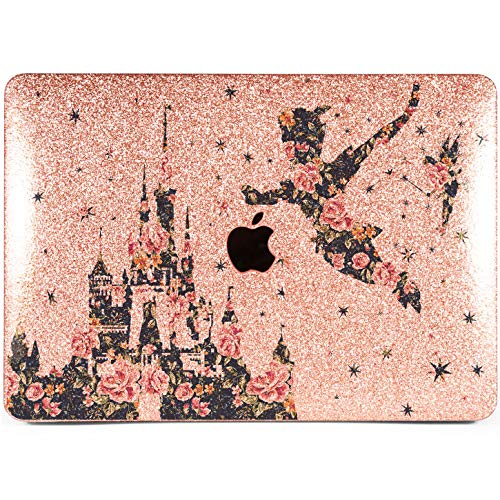 Lex Altern Glitter MacBook Air Case 13 inch Mac Pro 15 12 11 2018 2017 Cute Disney Floral Castle Flower Silver Crystal Peter Pan Retina Bling Cover Hard 2016 Shiny -