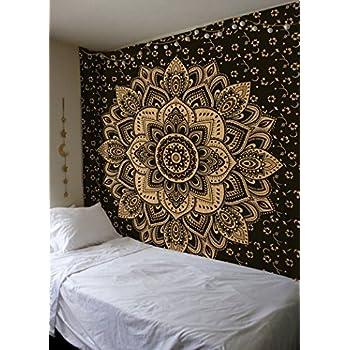madhu international exclusive black gold mandala tapestry bohemian gold mandala. Black Bedroom Furniture Sets. Home Design Ideas