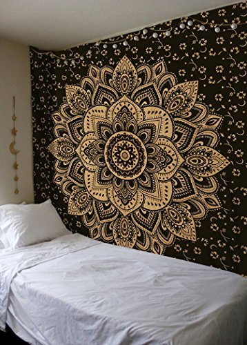 Home Tapestry - Madhu International Exclusive Black Gold Mandala Tapestry, Bohemian Gold Mandala Tapestries, Queen Size Mandala Wall Hanging Throw Home Decor