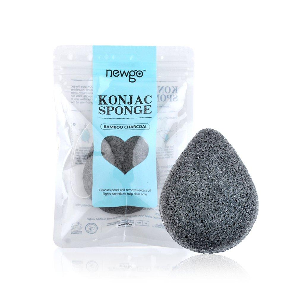 Natural Pearl Powder Konjac Sponge, Soft Faical Cleansing Puff - Round NEWGO KS002
