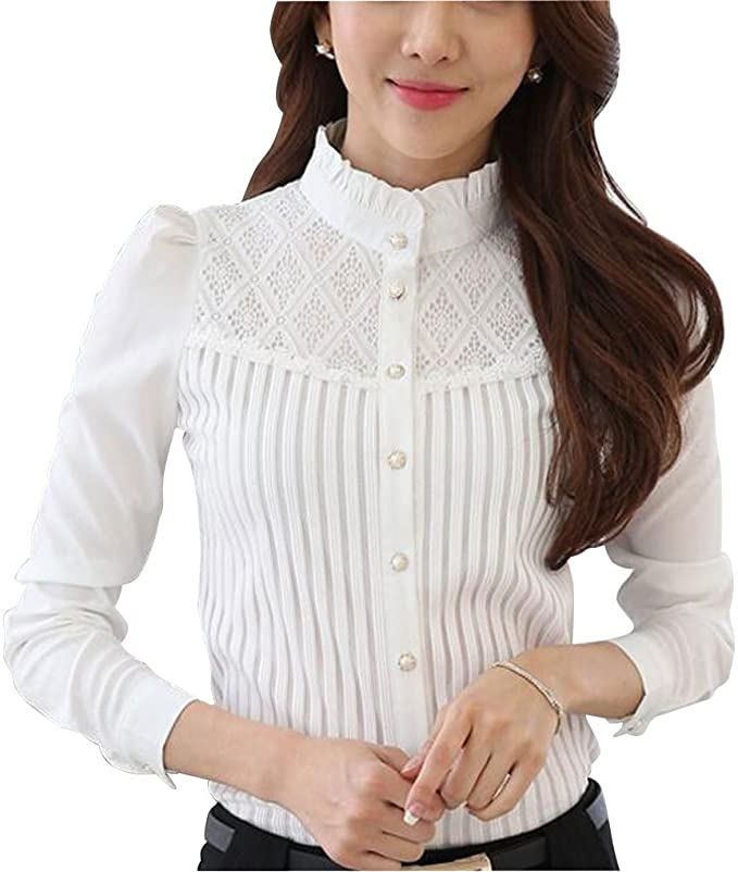 Edwardian Blouses |  Lace Blouses & Sweaters Womens Chiffon Vintage Stand Collar Button Down Shirt Long Sleeve Lace Blouse with Stretch £20.89 AT vintagedancer.com