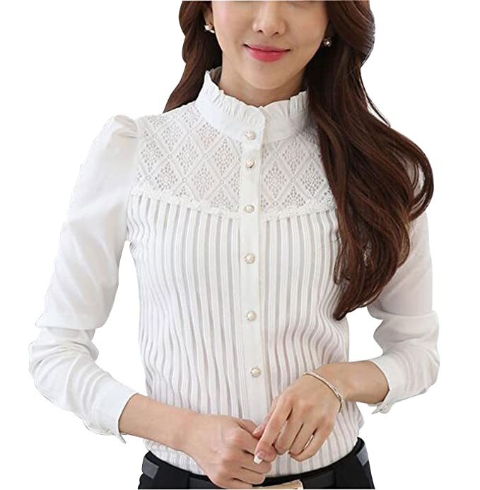 Edwardian Blouses | White & Black Lace Blouses & Sweaters Double Plus Open DPO Womens Vintage Collared Pleated Button Down Shirt Long Sleeve Lace Stretchy Blouse $25.99 AT vintagedancer.com