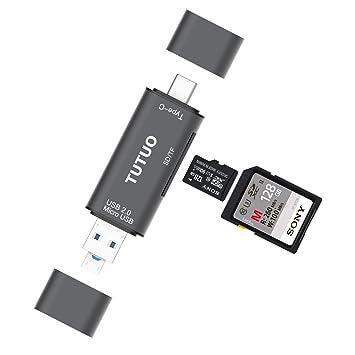 TUTUO Lector de Tarjetas USB SD/Micro SD (TF) 3 en 1 Universal USB Tipo C, USB-A y Micro USB 2.0 Adaptador OTG para MacBook Pro, Samsung Galaxy Note9 ...