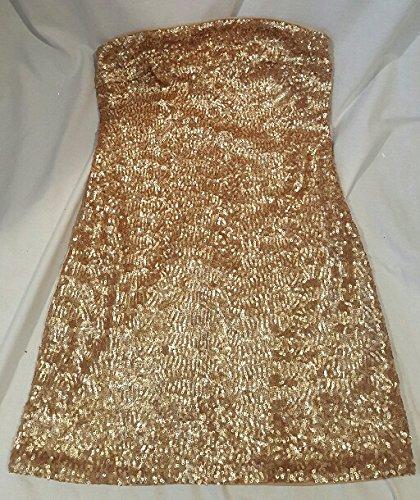 Juniors Gold Sequin Strapless Dress Small