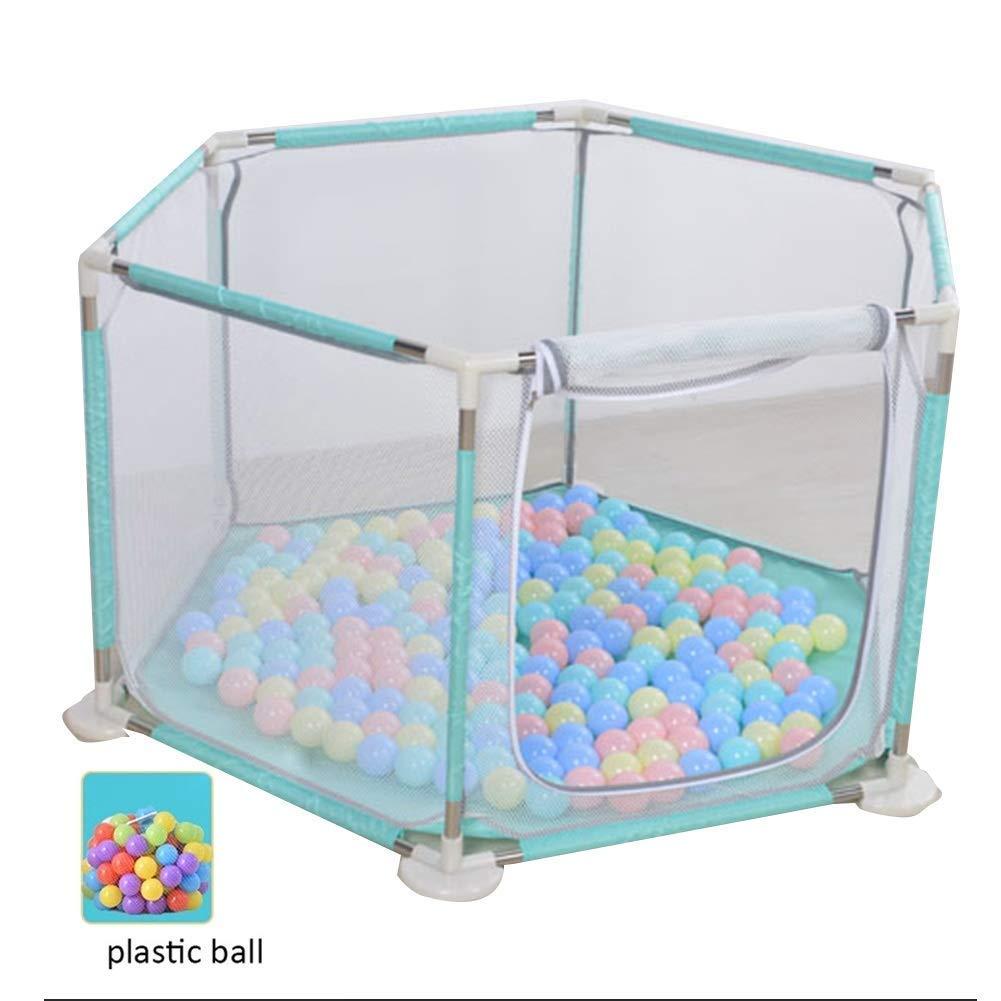 Q.AWB子供ベビーサークルベビーベビーサークル子供活動センター耐摩耗性安全玩具室プラスチックボールポータブル掃除が簡単 - 6パネル(カラー:グリーン、サイズ:130x68cm) 130x68cm Green B07V45NBQ9