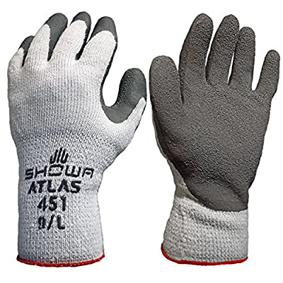SHOWA Atlas 451XL-10 Palm Coating Natural Rubber Glove, 10-Gauge Insulated Seamless Knitted Liner, General Purpose Work, X-Large (Pack of 12 Pairs)